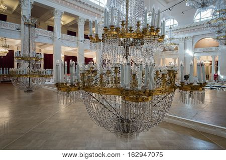 Crystal Chandeliers In The St. Petersburg Philharmonic