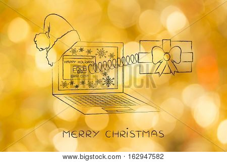 Online Shopping Or Sending Wishes, Christmas Present Out Of Laptop