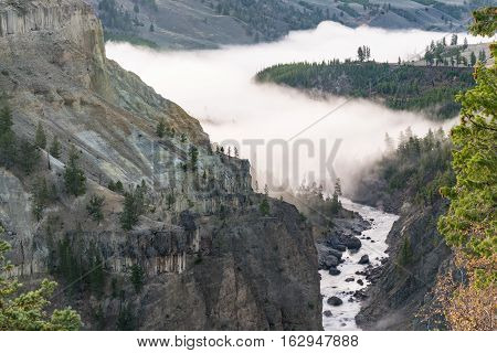 Fog in the canton of the Yellowstone river.