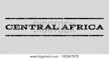 Central Africa watermark stamp. Text tag between horizontal parallel lines with grunge design style. Rubber seal stamp with scratched texture.