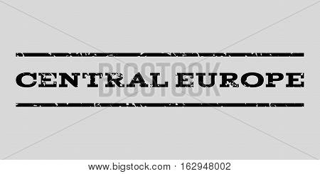 Central Europe watermark stamp. Text caption between horizontal parallel lines with grunge design style. Rubber seal stamp with dust texture. Vector black color ink imprint on a light gray background.