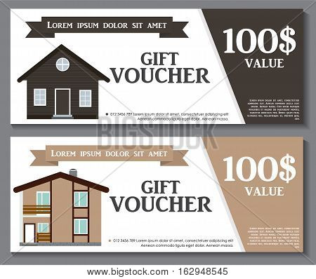 Gift Voucher Template with variation of House Discount Coupon. Vector Illustration. EPS10