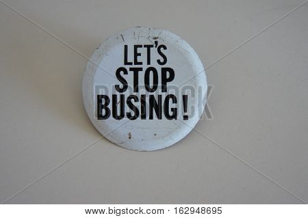 Let's Stop Busing Button from the 1960's