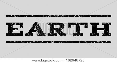 Earth watermark stamp. Text caption between horizontal parallel lines with grunge design style. Rubber seal stamp with dirty texture. Vector black color ink imprint on a light gray background.