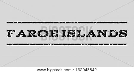 Faroe Islands watermark stamp. Text caption between horizontal parallel lines with grunge design style. Rubber seal stamp with dust texture. Vector black color ink imprint on a light gray background.