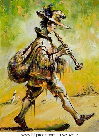 The wandering troubadour plays a pipe