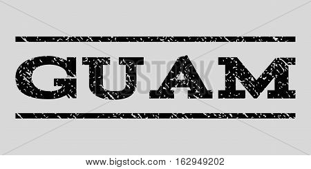 Guam watermark stamp. Text tag between horizontal parallel lines with grunge design style. Rubber seal stamp with unclean texture. Vector black color ink imprint on a light gray background.