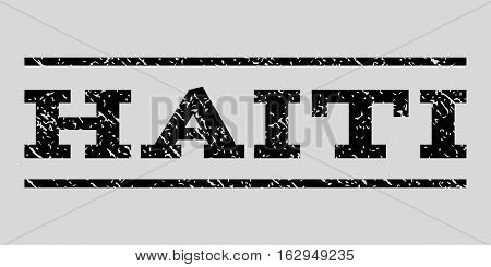Haiti watermark stamp. Text tag between horizontal parallel lines with grunge design style. Rubber seal stamp with dust texture. Vector black color ink imprint on a light gray background.