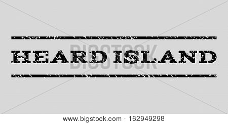 Heard Island watermark stamp. Text caption between horizontal parallel lines with grunge design style. Rubber seal stamp with scratched texture.