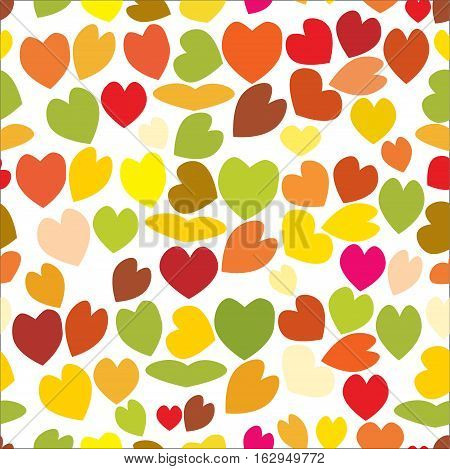 Seamless pattern of love hearts, Valentine's Day, vector, background in pretty colors