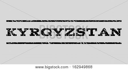 Kyrgyzstan watermark stamp. Text caption between horizontal parallel lines with grunge design style. Rubber seal stamp with scratched texture.