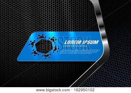 Vector hexagon gradient gray and blue mesh background with blue insert and metal frame with radiance for business.