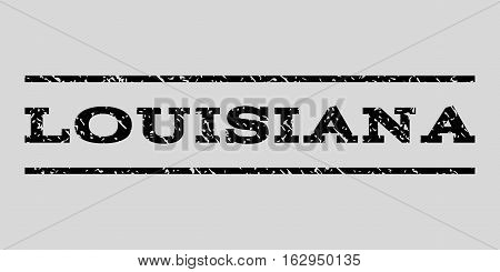 Louisiana watermark stamp. Text caption between horizontal parallel lines with grunge design style. Rubber seal stamp with dust texture. Vector black color ink imprint on a light gray background.