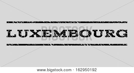 Luxembourg watermark stamp. Text caption between horizontal parallel lines with grunge design style. Rubber seal stamp with scratched texture.