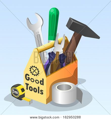 set of tools in a box - a hammer, screwdriver, pliers, wrench, Scotch, tape measure (vector illustration)