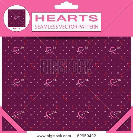 Seamless dark pink vector pattern from hearts and arrows for Valentine's Day in package with pattern unit and shadow.