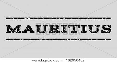 Mauritius watermark stamp. Text caption between horizontal parallel lines with grunge design style. Rubber seal stamp with scratched texture. Vector black color ink imprint on a light gray background.