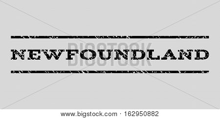 Newfoundland watermark stamp. Text caption between horizontal parallel lines with grunge design style. Rubber seal stamp with scratched texture.