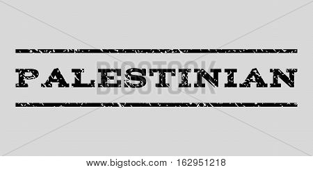 Palestinian watermark stamp. Text caption between horizontal parallel lines with grunge design style. Rubber seal stamp with unclean texture. Vector black color ink imprint on a light gray background.
