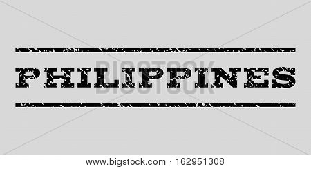 Philippines watermark stamp. Text caption between horizontal parallel lines with grunge design style. Rubber seal stamp with scratched texture.