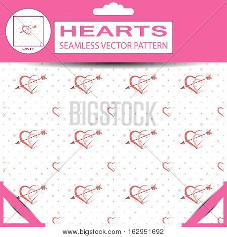 Seamless vector pattern from pink hearts and arrows for Valentine's Day in package with pattern unit and shadow.