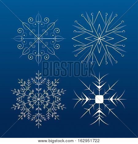 Vector set of white snowflakes on the gradient blue background.