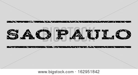 Sao Paulo watermark stamp. Text caption between horizontal parallel lines with grunge design style. Rubber seal stamp with dust texture. Vector black color ink imprint on a light gray background.