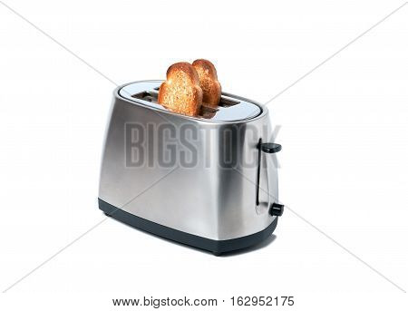 fresh toasted toast and a toaster, healthy breakfast