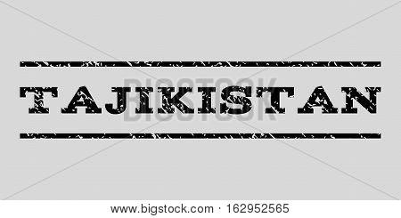 Tajikistan watermark stamp. Text caption between horizontal parallel lines with grunge design style. Rubber seal stamp with dirty texture. Vector black color ink imprint on a light gray background.