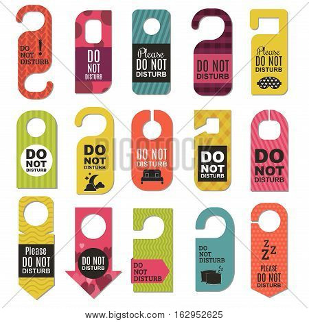 Please do not disturb hotel design. Motel service room privacy concept. Vector card hang message vacation hanger. Door quiet busy instructions graphic.