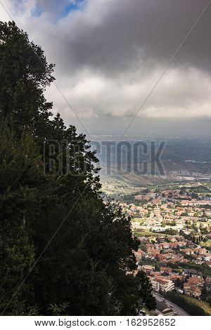 View of villages and landscape from the fortress of San Marino. The Republic of San Marino