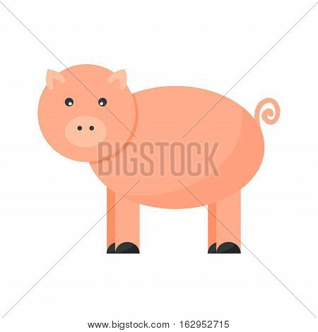 Cute cheerful pig farm character vector. Nature domestic agriculture funny standing mammal. Swine rural meat pork animal isolated on white.