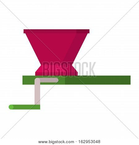 Vinery farm grape agriculture working tool beverage. Traditional production grape press flat icon manufactory vector illustration. barrel alcohol work equipment.