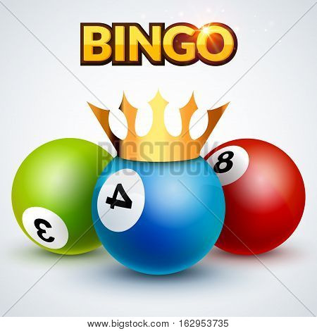 Lottery bingo jackpot design template poster. Bingo lottery illustration with crown. Success loto concept.