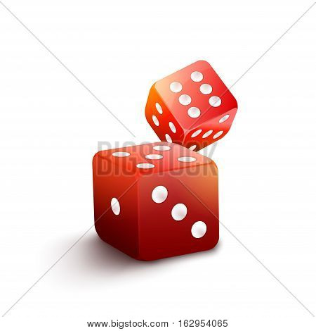 Red dice isolated casino illustration. 3d gamble vector background. Two red dice to play casino game. Success concept jackpot, chance to win.