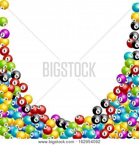 Bingo lottery balls numbers background. Lottery game balls. Lotto winner. Falling balls template.