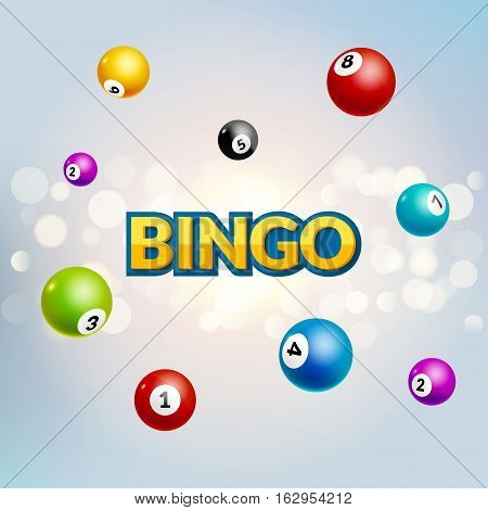 Bingo lottery poster. Balls numbers falling luck concept. Lottery game background.