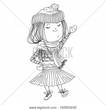 isolated cute sketched girl wearing warm winter clothes: sweater, hat, tutu, mittens and booties