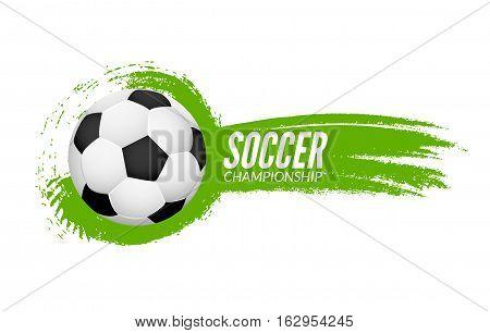 Soccer football poster design template. Soccer grunge banner football.