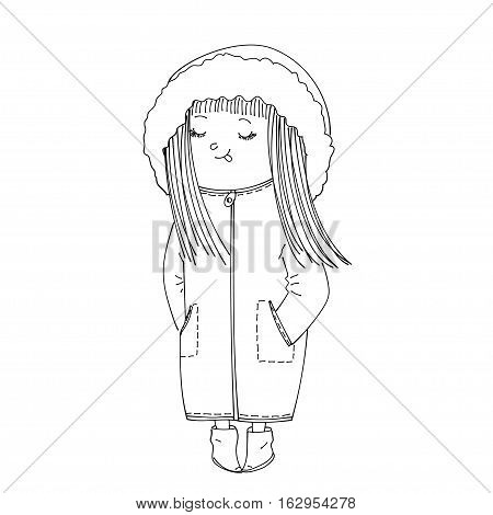 isolated cute sketched girl wearing warm winter clothes: coat with hood and booties