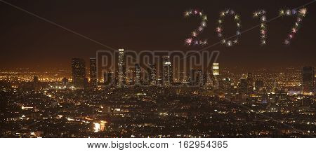 2017 Los Angeles Skyline Firework New Year Concept