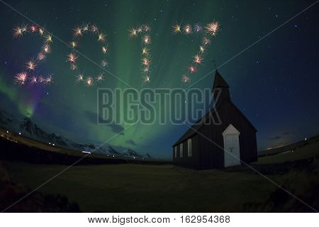 2017 Iceland Firework New Year Concept  Northern Lights