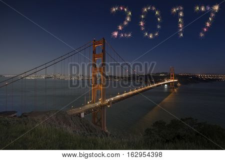 2017 Golden Gate Bridge Firework New Year Concept Sunset