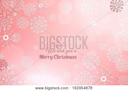 Vector We wish you a Merry Christmas abstract light red background with radiance and snowflakes.