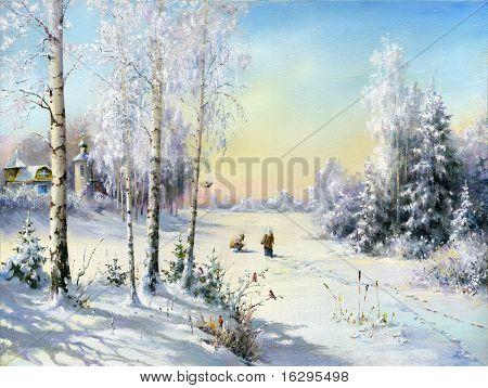 The frozen lake in winter village
