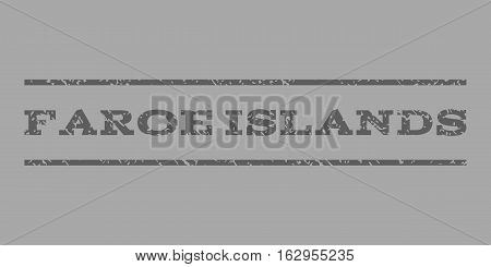 Faroe Islands watermark stamp. Text caption between horizontal parallel lines with grunge design style. Rubber seal stamp with dust texture. Vector dark gray color ink imprint on a silver background.