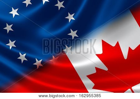 3D rendering of the flags of Canada and European Union on fabric texture. Canada-European Union Comprehensive Economic and Trade Agreement (CETA) concept.