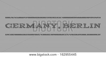Germany, Berlin watermark stamp. Text tag between horizontal parallel lines with grunge design style. Rubber seal stamp with dirty texture. Vector dark gray color ink imprint on a silver background.