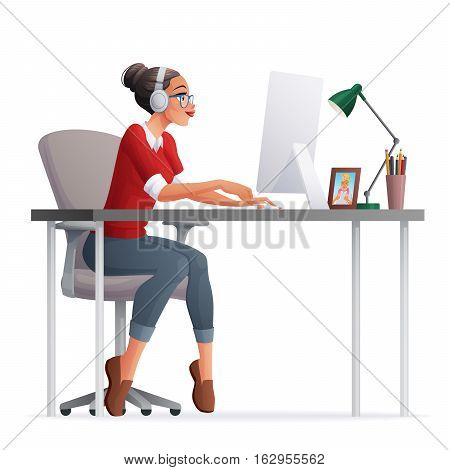 Pretty freelance woman working in home office with desktop computer. Cartoon style vector illustration isolated on white background.