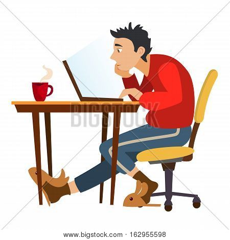 Unemployed man surfing the internet in search of work. Search Jobs. Unemployment and crisis. Freelancer in search of customers. Work at home